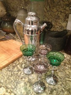 Art Deco Chromium Cocktail Martini Pitcher Set Amethest and Green Glass Set 4 | eBay