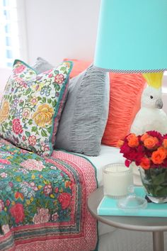 I don't know what I love more; the bed linens or the table side lamp. Fun colors to do in a vacation home