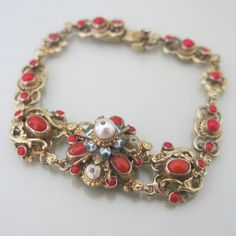 Antique Victorian Austro Hungarian Red Coral Enamel 835 Silver Pearl Bracelet