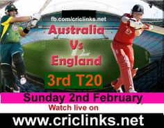 Sunday 2nd February...3rd T20 between Aus vs Eng will be played at Sydney..This is the last match of a Long tour for eng.AUS lead the T20 seris by 2-0 so Eng have chance to end the tour on high.Match will be start at 1.35 PM PST.Watch live action only on http://criclinks.net/ #AusvsEng
