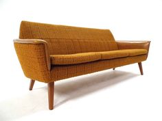 Mid Century Norwegian Orange Yellow Wool & Vinyl 3 Seater Sofa 1960s