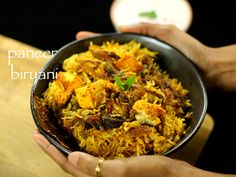 paneer biryani recipe, paneer biriyani recipe, veg paneer dum biryani with step by step photo/video. dum style cooked biriyani with marinated paneer, rice. Vegetarian Biryani, Healthy Vegetarian Diet, Vegetarian Recipes, Rice Recipes, Curry Recipes, Lunch Recipes, Dishes Recipes, Recipes Dinner, Chicken Recipes