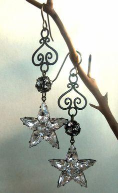 Holiday Party Rhinestone Star Earrings Crystal Stars with Filigree Dangle. Fancylinda on etsy.com.
