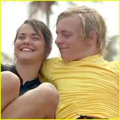 Maia Mitchell as Mack and Ross Lynch as Brady on Teen Beach Movie