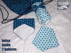 Toalla, 2 bandanas anti-babas y bolsa (forrada por dentro) a juego. Packs personalizados por encargo.