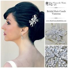 "Elegant Rhinestone Bow Bridal Hair Comb ""Vanessa"" by Hair Comes the Bride ~ #bridalhairaccessories #weddinghairaccessories #bridalcomb #weddingcomb #bridalhaircomb #weddinghaircomb"