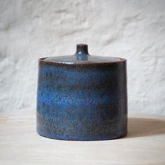 A lovely surprise from my kiln. What shall I call it? #tortus #copenhagen #ceramics #ceramic #blue #pottery #jar #art #design #rumid…