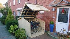 bicycle storage ideas outside fa 1 4 r a 1 4 innovative garagen bike storage ide… bicycle storage ideas outside fa 1 4 r a 1 4 innovative garagen bike storage ideas garage ceiling Garage Velo, Bicycle Garage, Bike Shed, Wood Storage Sheds, Storage Shed Plans, Storage Spaces, Storage Ideas, Garage Storage, Bike Storage Locker