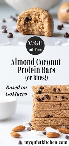 Homemade vegan protein bars with almonds, coconut and chocolate (GoMacro copy). No-bake, gluten-free, and just 7 ingredients. Protein Snacks, Gluten Free Protein Bars, Vegan Protein Bars, Vegan Bar, Coconut Protein, Protein Bar Recipes, Vegan Snacks, Yummy Snacks, Coconut Bars