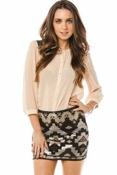 Dominique Sequin Skirt