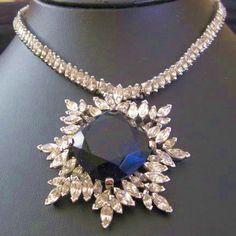 Sgd PANETTA Silvertone Huge Dark Sapphire Blue Stone Clear Rhinestone Necklace   eBay