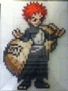 Made some color modifications. Estimated time: 1 and a half hour Perler Gaara Hama Beads, Fuse Beads, Bead Crafts, Paper Crafts, Melting Beads, Manga Anime, Bead Kits, Perler Bead Art, Perler Patterns