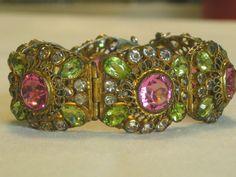 HOBE Signed, Filigree Vintage Rhinestone Bracelet, RARE
