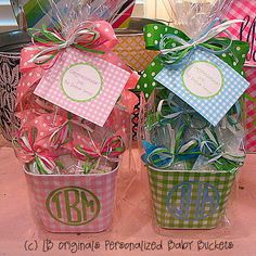 monogrammed buckets - baby gifts!