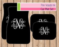 Monogrammed Car Mats Personalized Car Mats Choose Colors by Pink Wasabi Ink