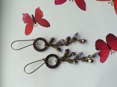 Bronze and purple crystal earrings £6.00