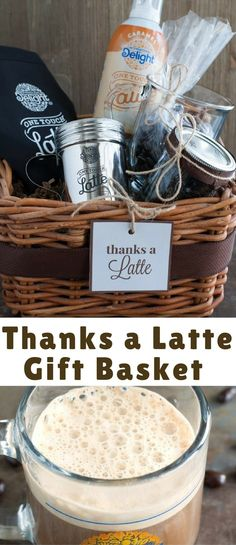 "I decided to put together an easy ""Thanks A Latte"" gift basket for my sister who loves a latte as much as me."