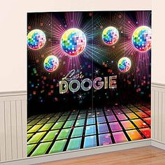 "Turn up the heat on a great party! The Disco Fever Scene Setter is just what the doctor ordered. This awesome wall decoration features a black background with shinning disco balls and a disco floor, and the words ""Let's Boogie"" in the center. Decoration Disco, 70s Party Decorations, Party Themes, Party Centerpieces, At The Disco, Disco Floor, 1970s Party, Retro Party, Disco Birthday Party"