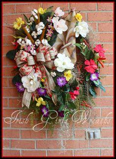 Louisiana Summer Wreath Cajun Magnolia Wreath by IrishGirlsWreaths