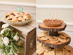 Cookie and Pie Unique Wedding Dessert Table with Tree Trunk Tiered Display | By Katelyn James Photography