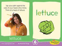 """ASL Signing Time sign of the week """"lettuce"""" Sign Language Basics, Sign Language For Kids, Sign Language Phrases, British Sign Language, Learn Sign Language, Second Language, Baby Signing Time, Learn To Sign, Asl Signs"""