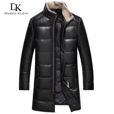 2017 New Brand leather down jackets men Dusen Klein Genuine sheepskin duck down mink fur collar leather coats 61I7023