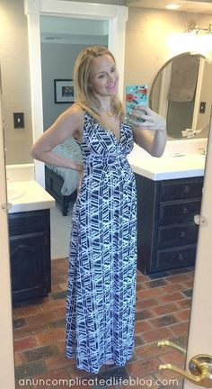 "Like the idea of print & solid maxi dresses for this summer :) Tart ""Shaina"" print #maternity maxi from #StitchFix"