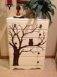 Owl Chest Of Drawers Makeover By Antiqued With Love - Featured On Furniture…