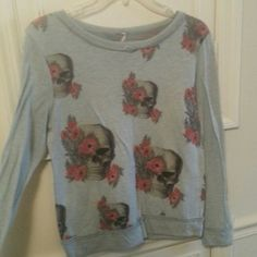 Roses and skulls Long sleeve/sweater from forever 21 Lengthnto about hip Worn a few times Pattern repeats on back  Comes from a smoke free home Shipping: $2 Paypal accepted! Forever 21 Sweaters