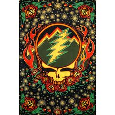 Grateful Dead Steal Your Face Tapestry with Roses Hippie Hanging Wall Art Scarlet Fire 60 x 90 Grateful Dead Image, Grateful Dead Poster, Grateful Dead Quotes, Grateful Dead Skull, Grateful Dead Wallpaper, Beach Wall Art, Rock Posters, Band Posters, Music Posters