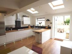3 bedroom terraced house for sale in Chestnut Grove, Calverley, Pudsey, West Yorkshire - Rightmove. Kitchen Extension Family Room, Open Plan Kitchen Dining Living, Open Plan Kitchen Diner, Kitchen Room Design, Living Room Kitchen, Home Decor Kitchen, New Kitchen, 1930s Kitchen Extension, 1930s House Interior Kitchens