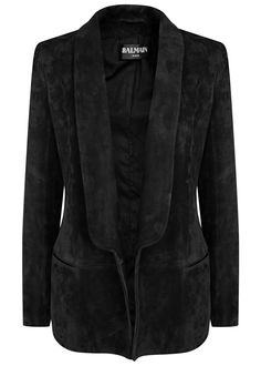 Balmain black suede tuxedo blazer  Padded shoulders, press stud-fastening cuffs, two front slit pockets, back vent, fully lined  Open front  100% leather (lamb)�lining: 52% viscose, 48% cotton