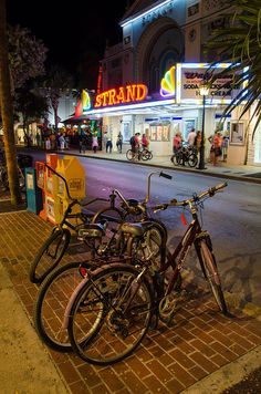 Bicycles on Duval Street across the street from the old Strand Theater #Key West