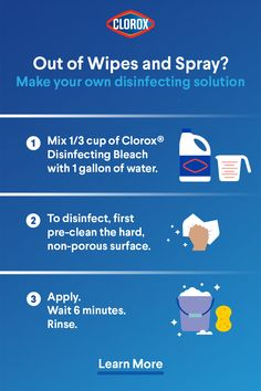If you've run out of disinfecting wipes or spray, no worries - you can make your own disinfectant solution with Clorox Disinfecting Bleach. It's an easy way to help keep your home clean. Tap the Pin and learn more. Homemade Cleaning Supplies, Household Cleaning Tips, Cleaning Checklist, Cleaning Recipes, House Cleaning Tips, Diy Cleaning Products, Cleaning Solutions, Cleaning Hacks, Diy Cleaners