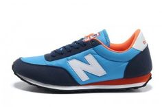 Buy Real New Balance U410MNNW Mens Classic Trainers Pale Blue, Navy, Orange, White Cheapest UK Sale