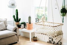 """A bassinet, bassinette, or cradle is a bed specifically for babies from birth to about four months, and small enough to provide a """"cocoon"""" that small babies find comforting. Girl Room, Baby Room, Hanging Bassinet, Baby Girl Nursery Decor, Nursery Ideas, Newborn Fotografie, Nursing Chair, One Bed, Baby Bassinet"""