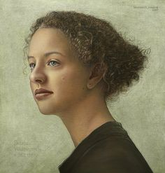 """Saskia Wassmuth"" - Manfred W. Juergens, oil and egg tempera on canvas panel, 2007 {contemporary figurative artist beautiful female head woman face portrait painting detail #loveart} <3 m-w-juergens.de"