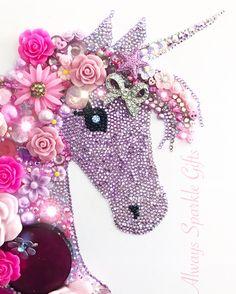 Framed Pink Sparkly unicorn. Kids bedroom decor.
