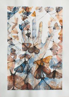 abstract ORIGINAL WATERCOLOR PAINTING butterflies moth hand ART artist. by Nora