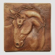 Hand made Equine tile 5 horse with turned head 4 by HorseOfMyHeart Copper Wall Art, Clay Wall Art, Horse Sculpture, Wall Sculptures, Horse Head Wreath, Tile Art, Wall Tile, Clay Tiles, Paperclay