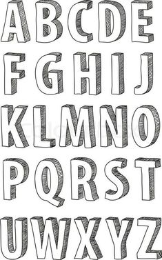 Fonts Alphabet Discover 30 Bullet Journal Font Ideas you must see! Looking for a way to spice up your Bullet Journal? Learn everything about bullet journal fonts and how to improve your hand writing. Hand Lettering Alphabet, Doodle Lettering, Creative Lettering, Block Lettering, Doodle Alphabet, Doodle Fonts, Handwriting Fonts Alphabet, 3d Typography, Alphabet Design