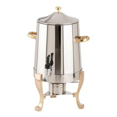 Choice Deluxe 3 Gallon Stainless Steel Coffee Chafer Urn with Gold Accents