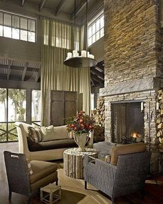 Wonderful Pictures two story Stone Fireplace Suggestions Stacked stone fireplace…, – Stone fireplace living room Grey Stone Fireplace, Stacked Stone Fireplaces, Fireplace Design, Fireplace Ideas, Fireplace Pictures, Fireplace Lighting, Limestone Fireplace, Table Lighting, Stone Walls