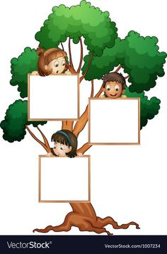 Tree sign with kids vector image on VectorStock Boarder Designs, Frame Border Design, Page Borders Design, Powerpoint Background Design, Poster Background Design, Adobe Illustrator, School Border, Boarders And Frames, Kids Background
