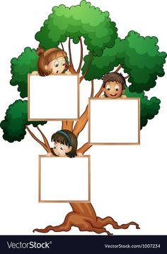 Tree sign with kids vector image on VectorStock Frame Border Design, Boarder Designs, Page Borders Design, Adobe Illustrator, School Border, Teacher Cartoon, Boarders And Frames, School Frame, Powerpoint Background Design