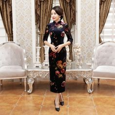 Traditional Navy Velour Half Sleeve Long Cheongsam Evening Dress with Roses Pattern