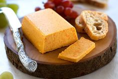 Smoky Vegan Cheddar Cheese 14 Vegan Cheeses That Will Make You Forget About The Real Thing Vegan Cheddar Cheese, Vegan Cheese Recipes, Dairy Free Cheese, Vegan Foods, Vegan Dishes, Dairy Free Recipes, Raw Food Recipes, Vegan Cheddar Recipe, Vegan Lunches
