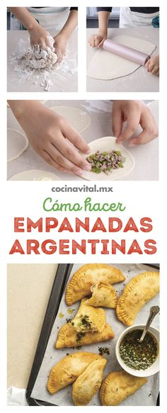 How to make Argentine empanadas step by step - Comida Faciles Y Rapida Kitchen Recipes, Cooking Recipes, Argentina Food, Vegetarian Thanksgiving, Mexico Food, Grilled Chicken Salad, Famous Recipe, Caribbean Recipes, Family Meals