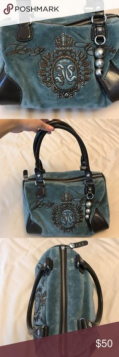 Juicy Couture Blue Velvet Leather Purse Authentic Juicy Couture Blue Velvet and Brown Leather Purse with Silver Hardware. Juicy Couture Bags Shoulder Bags