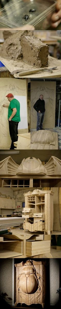 Absolutely amazing art work! Wood wardarobe BUG. This art furniture has been made by Janis Straupe and is his biggest and most complicated work till now. We love it! http://truelatvia.lv/en/true-ziimoli-452721/janis-straupe-wood